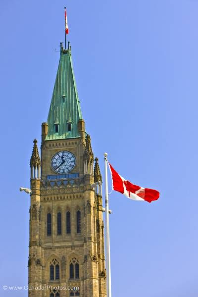 Photo: Peace Tower Centre Block of Parliament Buildings Canadian National Flag Parliament Hill Ottawa