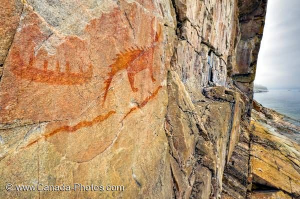 Photo: Pictographs Agawa Rock Lake Superior Provincial Park
