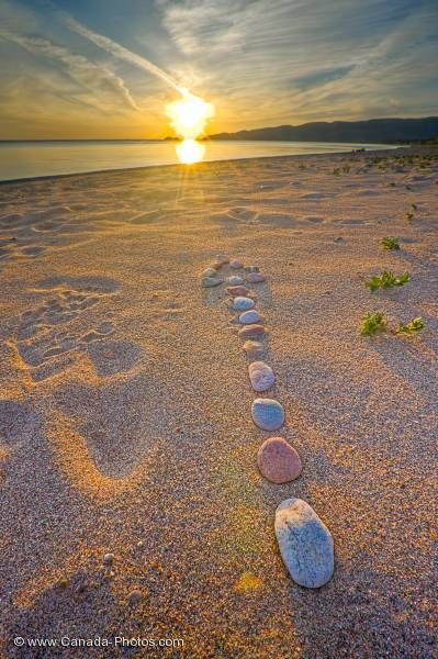Photo: Rock Arrow Sunset Agawa Bay Lake Superior