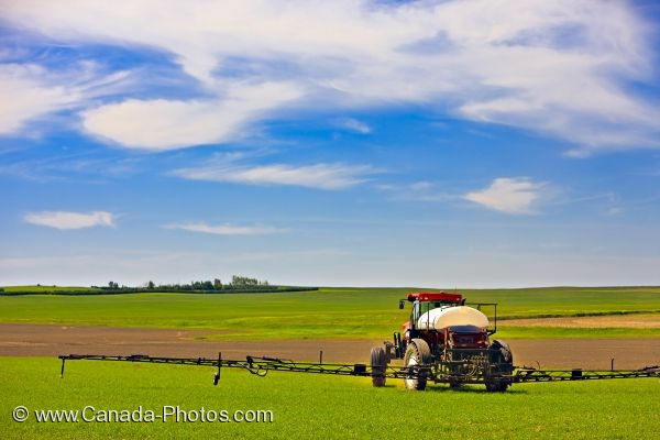 Photo: Rockglen Farmland Crop Spraying Southern Saskatchewan