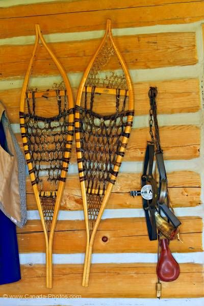 Photo: Snowshoes trap barn Last Mountain House Provincial Park