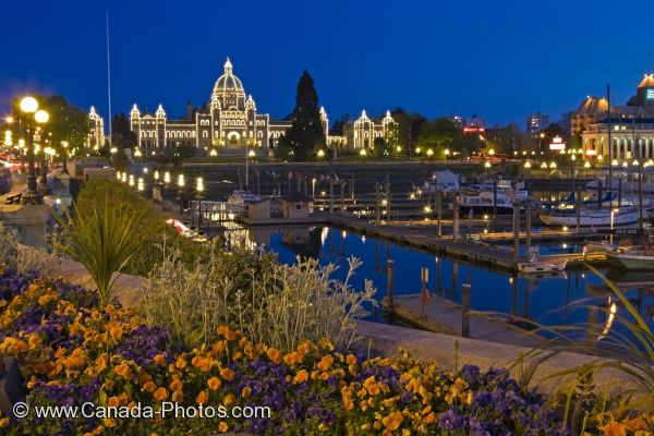 Photo: Parliament Building Victoria Harbor Twilight Photo