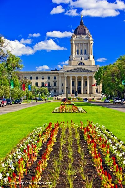 Photo: Winnipeg City Legislative Building Flower Gardens Manitoba